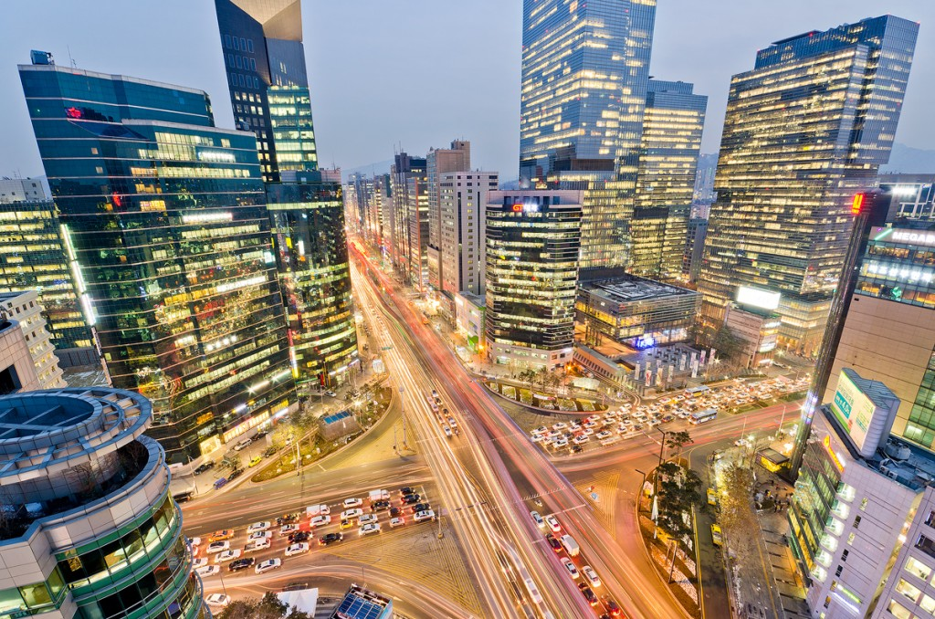 Gangnam Station and Samsung Headquarters, Seoul, South Korea