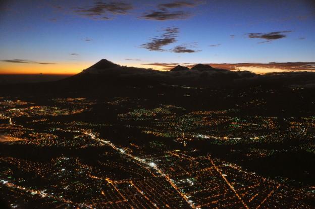 Guatemala city aerial night b