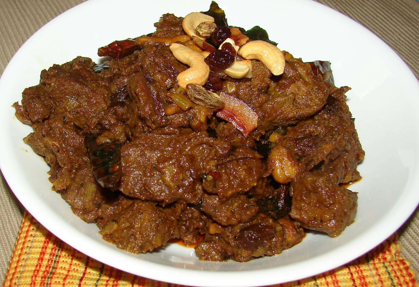 Mutton slices cooked