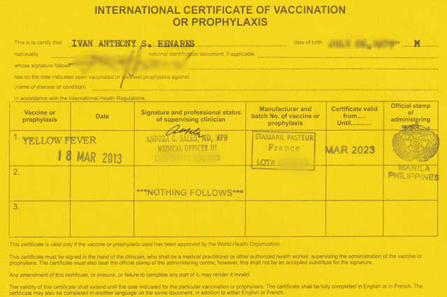 Yellow Fever Vaccination certificate